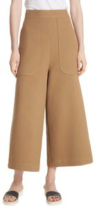 See by Chloé High Rise Flared Tailored Brown Culotte Wide Leg Pants Tan