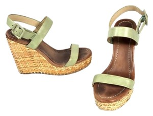 Kate Spade Wedge Strappy Summer Dress Green Tan Sandals