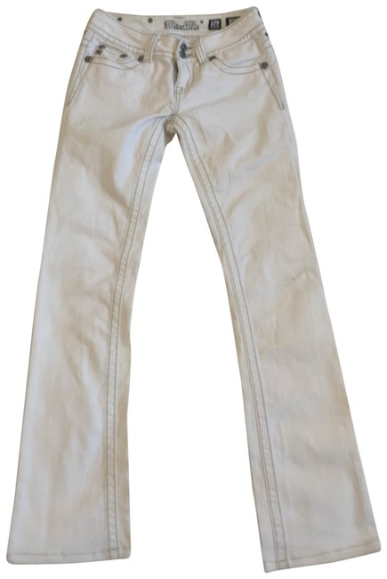 Item - White Light Wash Stud Silver Sequin Leather Wing Boot Cut Jeans Size 2 (XS, 26)
