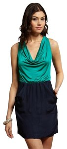 Hype short dress Navy Silk Open Back Front Pockets Twofer on Tradesy