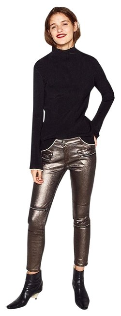 Item - Golden Bronze Metallic Shine Biker Fitted Trousers Mid-rise Pants Size 4 (S, 27)