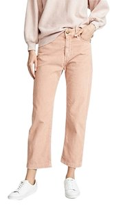 The Great. High Rise Corduroy Capri/Cropped Pants Pink