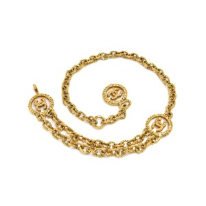 Chanel Vintage Chanel Gold-tone Medallion Etruscan Style 2 Tiered Chain Waist