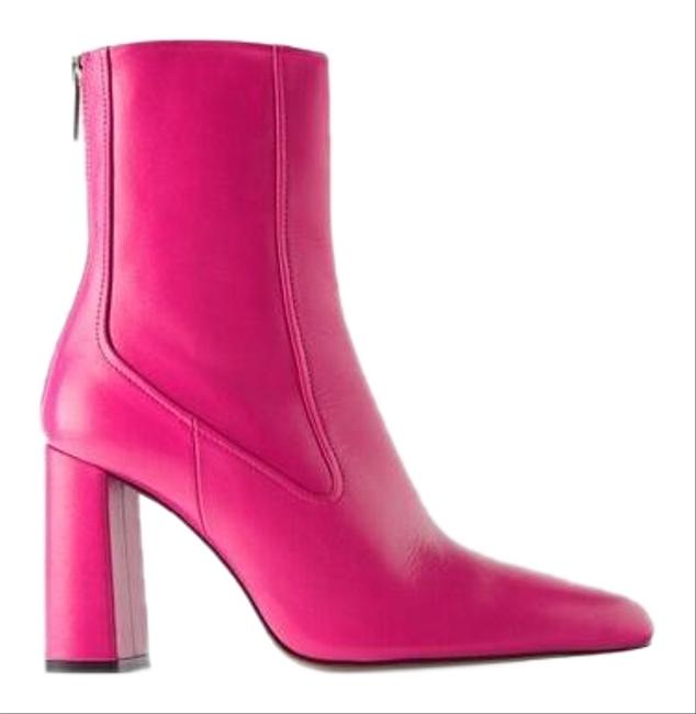 Item - Pink W Leather Heeled Ankle W/ Narrow Shaft Color Block New Boots/Booties Size US 6.5 Regular (M, B)