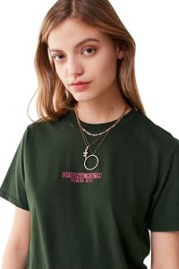 Urban Outfitters T Shirt navy green, pink