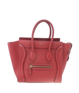 Celine Leather Tote in Red