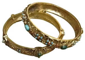 Other Orange and Turquoise Embellished Gold Tone Bangles
