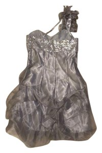 Gunne Sax short dress Silver Mini Prom on Tradesy