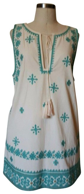 Item - Natural/Green Tunic Long Short Casual Dress Size 4 (S)