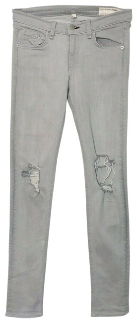 Item - Gray Acid In Surrey with Holes Skinny Jeans Size 27 (4, S)