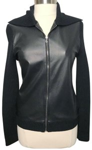 L'AGENCE Leather Merinowool Ribbedzipup Sweater