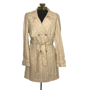 Dana Buchman Belted Embroidered Casual Tailored Cream Jacket
