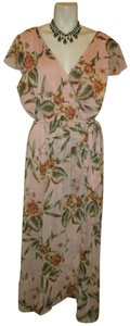 pink & green multi Maxi Dress by Band of Gypsies Sheer Mock Wrap Maxi Floral Print Onm001
