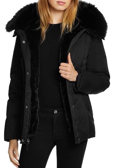 Item - Black Luka Fitted Parka with Velvet and Fur Trim Coat Size 8 (M)
