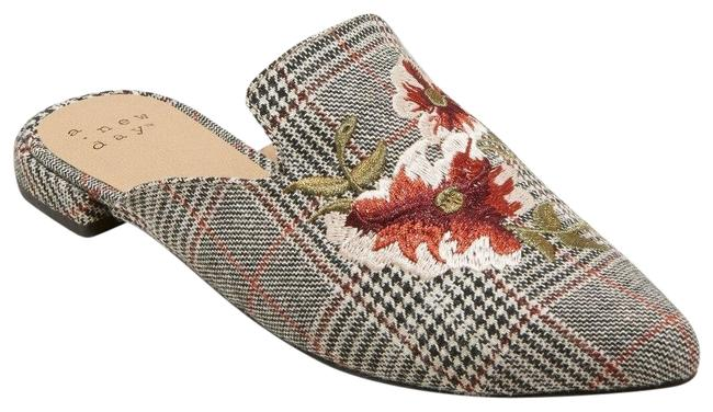Item - Gray Women's Eve Plaid Embroidered Backless Mules/Slides Size US 7 Regular (M, B)