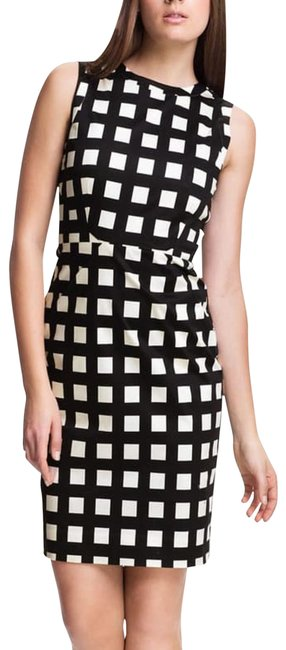 Item - Black and White 'lorelei' Stretch Cotton Sheath Mid-length Short Casual Dress Size 8 (M)