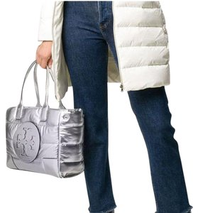 Tory Burch Puffer Quilted Metallic Tote in Silver
