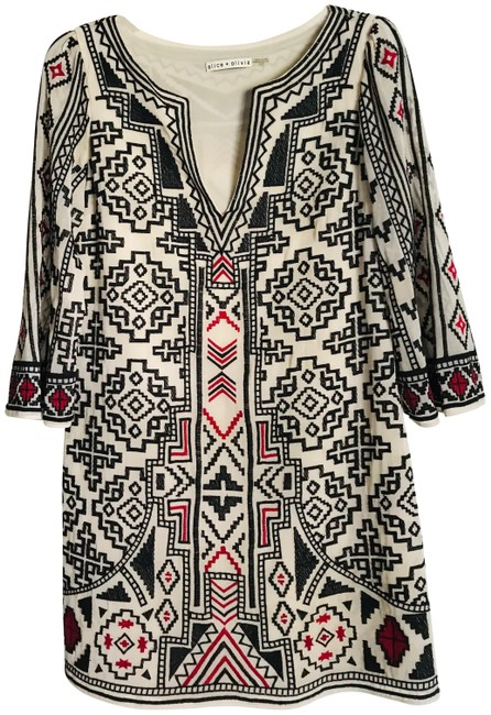Item - Black/Red/Ivory XS Black/Red Embroidery On Lined In Xs. Short Casual Dress Size 2 (XS)