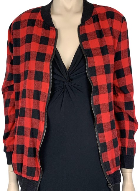 Item - Black Red XS And Plaid Checkered Bomber Zipper Jacket Size 2 (XS)