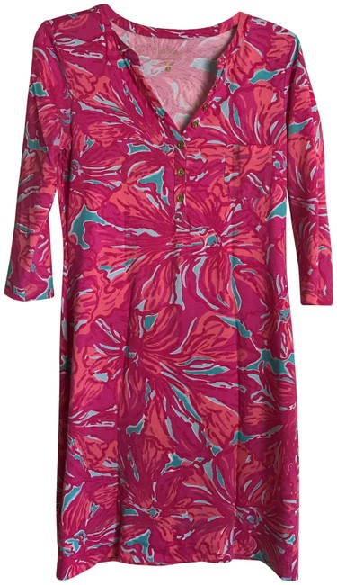 Item - Multicolor W Pima Cotton Print 3/4 Sleeve W/Gold Buttons Short Casual Dress Size 6 (S)