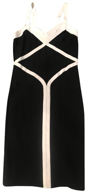 Item - Black with Antique White Details Bandage Mid-length Night Out Dress Size 10 (M)