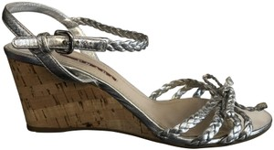 Prada Braided Italy Leather Non Slip Rope Silver Wedges