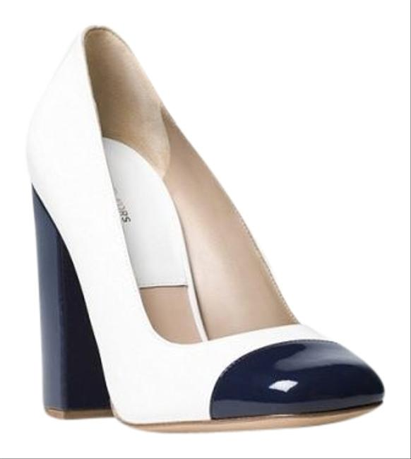 Item - Navy Blue and White Vanessa Runway Leather Pumps Size US 10 Regular (M, B)
