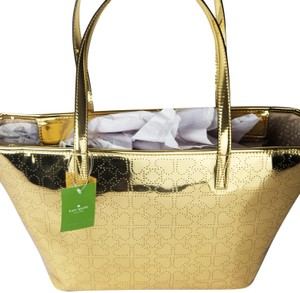 Kate Spade Mirrored Shiny Perforated Heart Zippered Tote in Gold