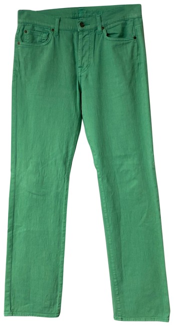Item - Green Stretch Cotton Straight Leg Jeans Size 31 (6, M)