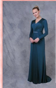 Teal Lycra Long Sleeve Modest Bridesmaid/Mob Dress Size 10 (M)