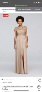 David's Bridal Gold Sheer and Polyester with Sequencing Lace Fabric On Top Never Worn Formal Bridesmaid/Mob Dress Size 10 (M)