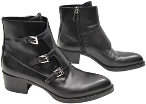 Prada Silver Buckles Leather Black Boots