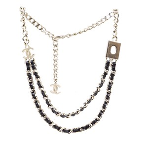 Chanel RARE CC Turnlock Leather gold double chain Charm necklace