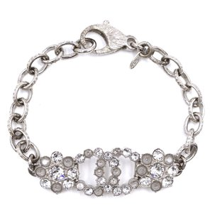 Chanel RARE CC clear and cloudy crystals bracelet cuff silver hardware
