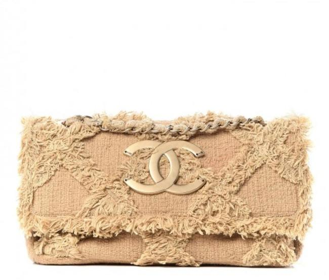 Chanel Classic Flap Crossbody Small Nature Crochet Beige Tweed Organic Shoulder Bag Chanel Classic Flap Crossbody Small Nature Crochet Beige Tweed Organic Shoulder Bag Image 1