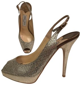 Jimmy Choo Platform Fabric Open Toe Leather Size 8 Silver gold Pumps