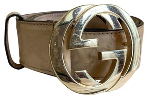 Gucci GUCCI GG Interlocking Unisex Buckle Beige Leather Belt Size 36 114876