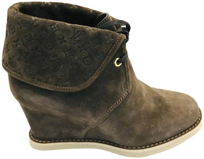 Item - Brown Monogram Suede Wedge Ankle Boots/Booties Size EU 36 (Approx. US 6) Regular (M, B)