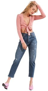 AGOLDE High Rise Distressed Medium Wash Classic Button Fly Straight Leg Jeans