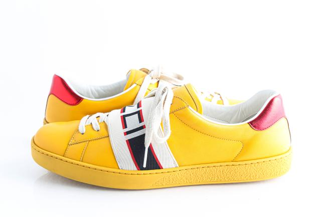 Item - Yellow Stripe Leather Sneakers Shoes