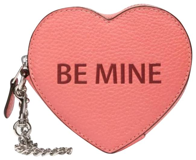 Item - Coral New Be Mine Leather Heart Coin Purse Charm Case Card Wallet