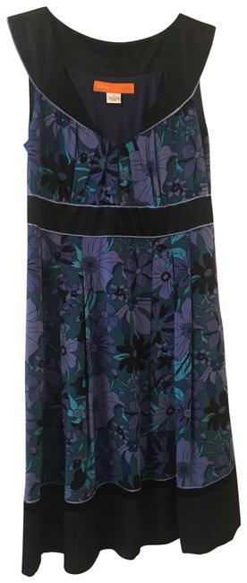 Item - Purple/Blue/Black Sleeveless Silk Mid-length Work/Office Dress Size 8 (M)