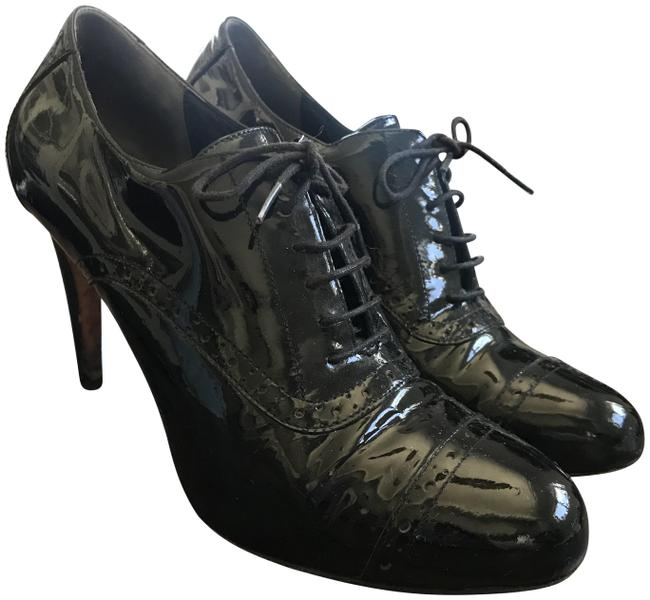 Item - Black Patent Leather Laced Up Oxford Pumps Size US 8.5 Regular (M, B)