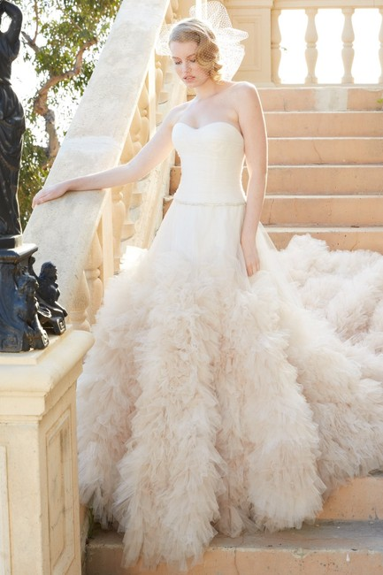 Item - Champaign/Ivory Tulle Bridal Style 12603 Traditional Wedding Dress Size 8 (M)