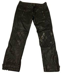 Belstaff Leather Blogger Quilted Zipper Straight Pants Black