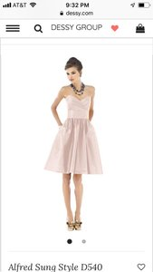 Alfred Sung Pearl Pink Polyester Strapless Traditional Bridesmaid/Mob Dress Size 6 (S)