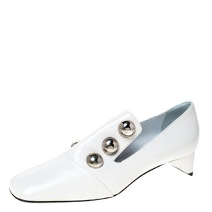 Burberry Leather Embellished White Pumps
