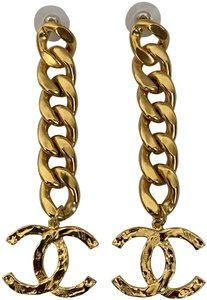 Chanel Chanel Large CC Logo Thick Curb Link Chain Statement Drop Earrings