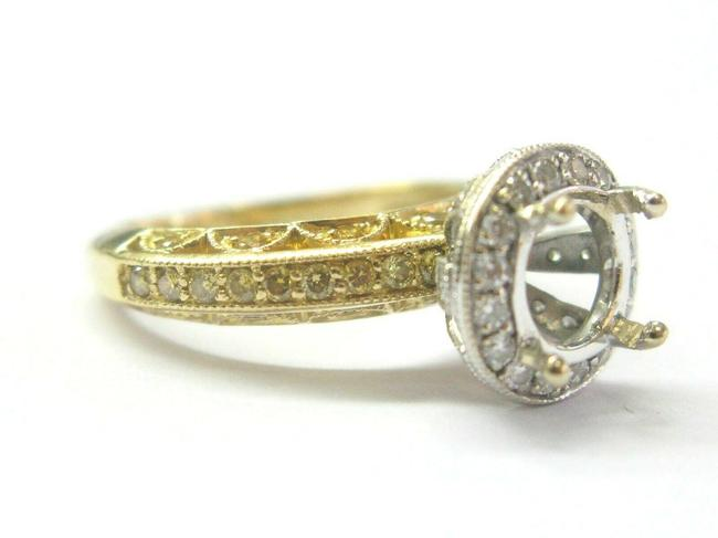 Item - White & Yellow Gold Two-tone Diamond Semi Mount .54ct ( Center Fits A 6mm ) Ring