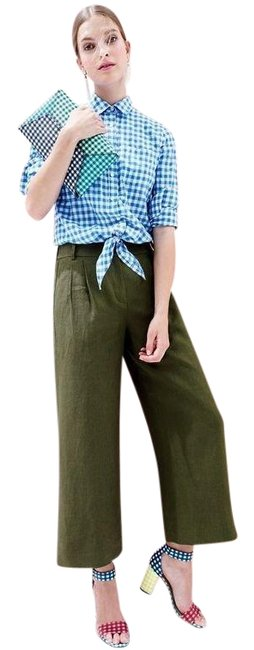 Item - Blue Tie-front Boy Shirt In Gingham Button-down Top Size Petite 4 (S)